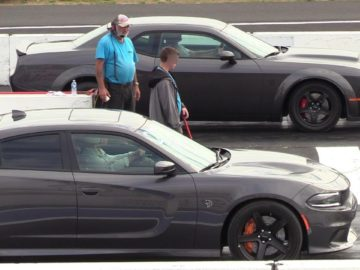 All new Dodge models on a drag strip .Demon,Hellcat,Scat Pack,Jeep,Durango,Challenger A/T,R/T