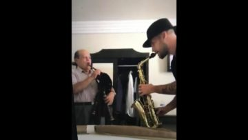 Amazing moment with a bagpipe and a sax in hotel room in Mexico !