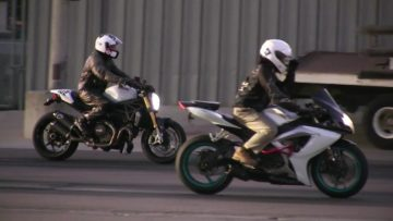 Ducati Monster vs Suzuki-street bike racing,acceleration,top speed and drag race