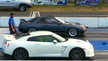 Must see race Nissan Skylane r32 gtr smokes Gtr 35-drag race