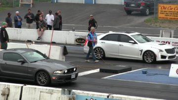 New 2016 Cadillac CTS-V vs Mustang GT 1/4 mile drag race