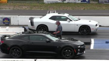 New 2016 Camaro SS vs 2015 Scat Pack Dodge Challenger-1/4 mile drag race