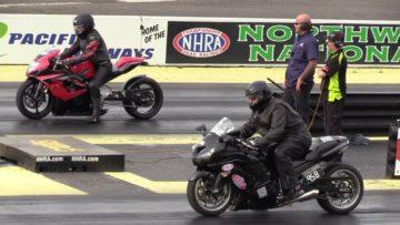Suzuki GSXR vs Kawasaki Ninja – drag race